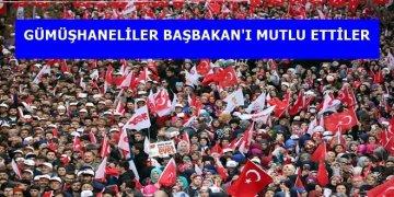 """BAŞBAKAN YILDIRIM'IN GÜMÜŞHANE'DE """"EVET"""" MUTLULUĞU"""