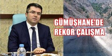 """GÜMÜŞHANE VALİSİ OKAY MEMİŞ'TEN  """"ASFALT"""" REKORU"""